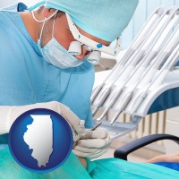 il map icon and an oral surgeon operating on a dental patient
