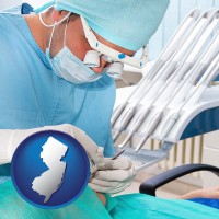nj map icon and an oral surgeon operating on a dental patient