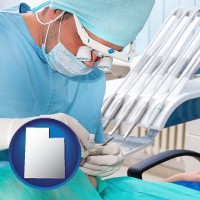 ut map icon and an oral surgeon operating on a dental patient