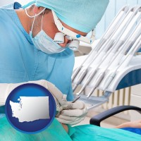 wa map icon and an oral surgeon operating on a dental patient